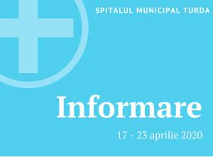 OFICIAL: Numărul pacienților și medicilor testați la Spitalul Municipal Turda